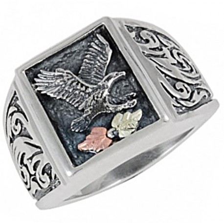 Black Hills Gold .925 Sterling Silver Eagle Mens Oxidized Ring