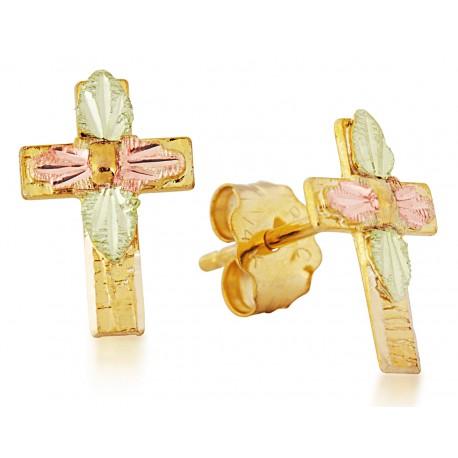 Landstrom's® Mini Black Hills Gold 10K Post Cross Earrings