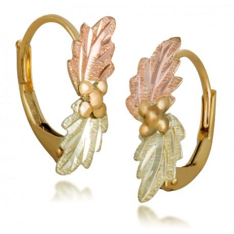 Landstrom S Small Black Hills Gold Leverback Earrings