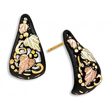 Landstrom's® Decorative Black Hills Gold on Black Powder Coated Earrings