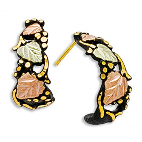 Landstrom's® Black Hills Gold on Black Powder Coated Earrings w 12K Gold Leaves