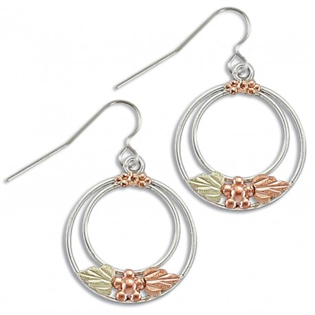Landstrom's® Black Hills Gold on Sterling Silver Circle Earrings w Leaves