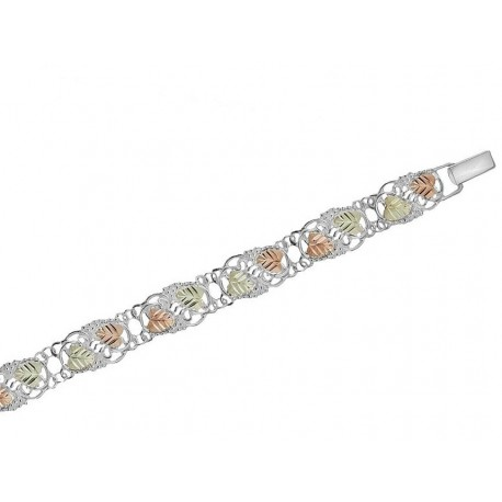 Black Hills gold on Sterling Silver Tri-Color Grapevine Bracelet