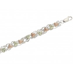 Black Hills gold on Sterling Silver  Grapevine Bracelet W/ 12k Green & Rose Gold Leaves