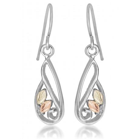 Landstrom's® Black Hills Gold on Sterling Silver Dangle Earrings w Leaves