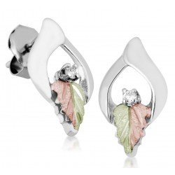 Black Hills Gold Sterling Silver Earrings with Diamond by Landstroms