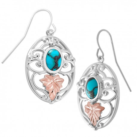 Landstrom's® Black Hills Gold on Sterling Silver Earrings w Turquoise