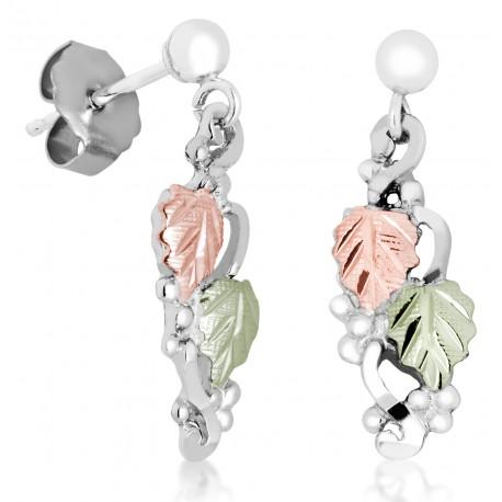 Landstrom's® Black Hills Gold on Sterling Silver Earrings w 12K Leaves