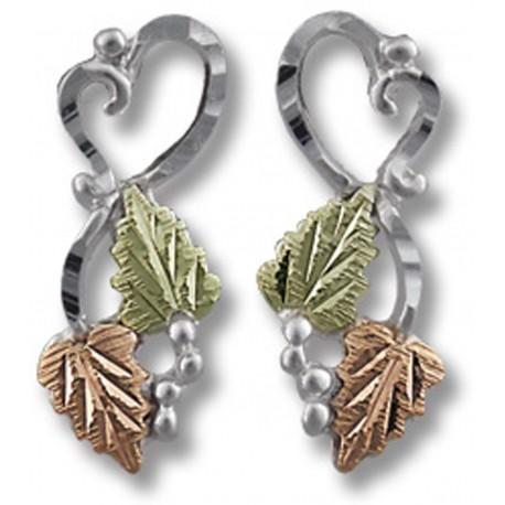 Landstrom's® Black Hills Gold on Sterling Silver Heart Earrings w 12K Leaves
