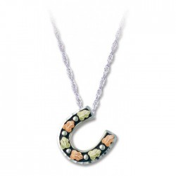Black Hills Gold Antiqued Silver Horseshoe Ladies Pendant Necklace