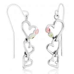 Landstrom's® Black Hills Gold on Sterling Silver Triple Heart Earrings