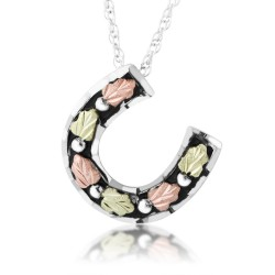Black Hills Gold on Silver Antiqued Horseshoe Ladies Pendant Necklace