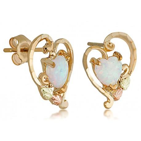 Landstrom's® 10K Black Hills Gold Heart Earrings with Opal