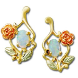 Landstrom's® 10K Black Hills Gold Earrings with Opal and Rose