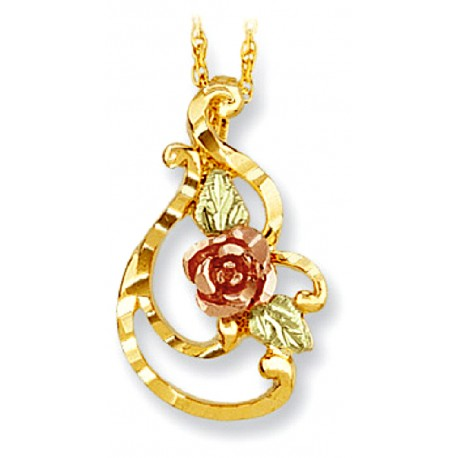 Landstrom's® 10K Black Hills Gold Diamond Cut Pendant with Rose