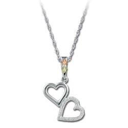 Black Hills Gold on .925 Sterling Silver Double Heart Pendant Necklace