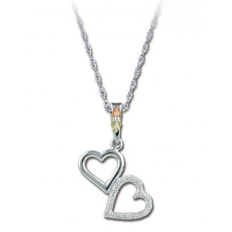 BLACK HILLS GOLD LADIES .925 STERLING SILVER HEART PENDANT NECKLACE
