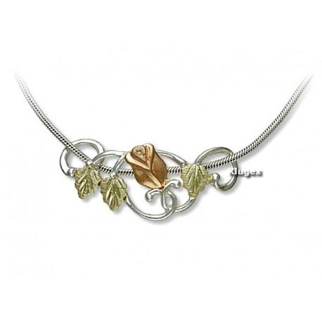 Landstrom's® Black Hills Gold on Sterling Silver Slide Rose Pendant w/ Snake Chain