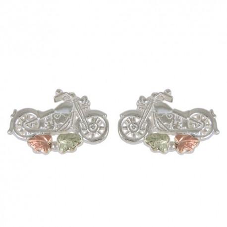 10k Black Hills Motorcycle Earrings