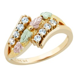 Size-7 Landstrom's® Stunning 10k Black Hills Gold Women's Ring w/ CZ