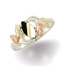 Black Hills Sterling Silver & Gold Mother Of Pearl And Onyx Ring