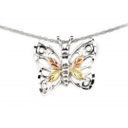 Landstrom's® Black Hills Gold Sterling Silver Butterfly Pendant with 12K Leaves