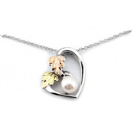 Landstrom's® Black Hills Gold on Sterling Silver Heart Pendant with Pearl