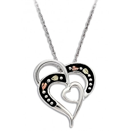 Landstrom's® Black Hills Gold on Sterling Silver Antiqued Heart Pendant