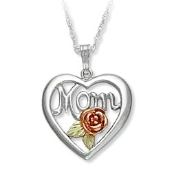 "Beautiful Black Hills Sterling Silver Heart ""Mom"" Pendant Necklace"
