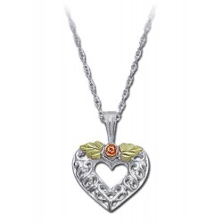 Black Hills Gold Sterling Silver Heart And Flower Ladies Pendant Necklace