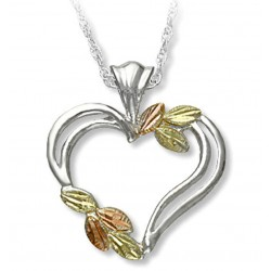 Black Hills Gold Silver Ladies Heart Pendant Necklace