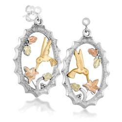 Landstrom's® Black Hills Gold on Sterling Silver Earrings with 10K Hummingbird