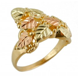Landstrom's® Tri-color Black Hills Gold Ring with Leaves and Grapes