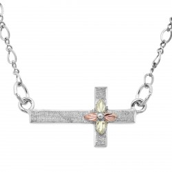 Landstrom's® Black Hills Gold on Sterling Silver Sideways Cross Necklace