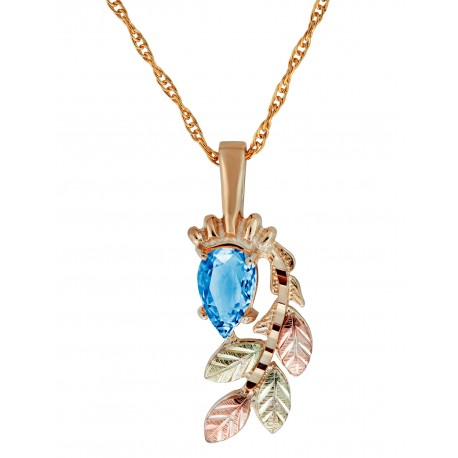 10K Black Hills Gold Pendant with Blue Topaz