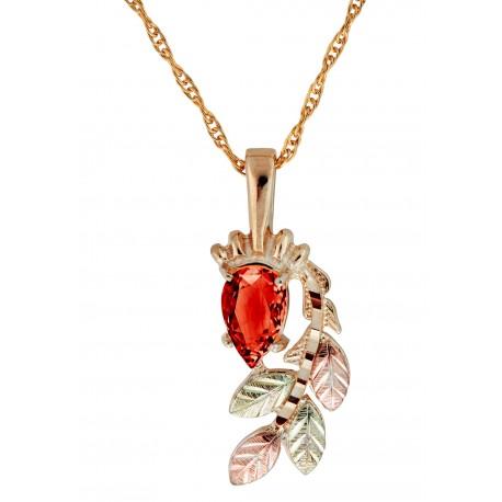 10K Black Hills Gold Pendant with Garnet