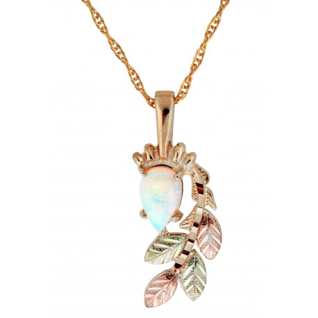 10K Black Hills Gold Pendant with Opal