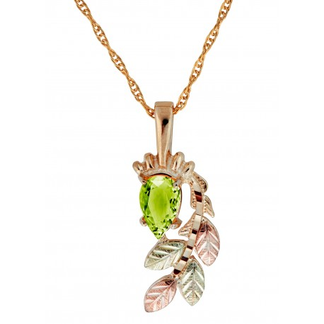 10K Black Hills Gold Pendant with Peridot