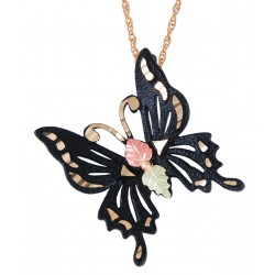 Black Hills Gold Black Powder Coated Butterfly Pendant with 12K Gold Leaves