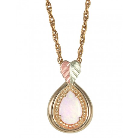Black Hills Gold Pendant with Pearl Shape Opal