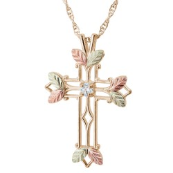 10K Black Hills Gold Cross Pendant with Diamond