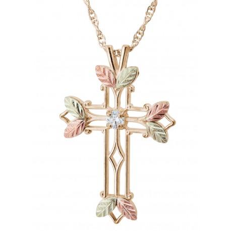 10K Black Hills Gold Cross Pendant with Diamond