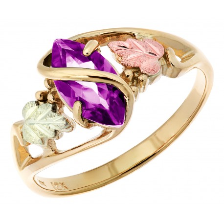 10K Black Hills Gold Ladies Ring with Amethyst