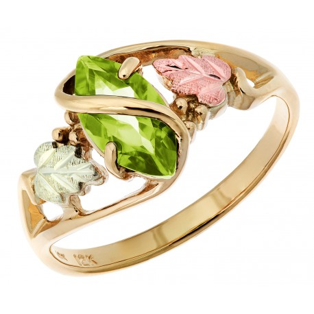 10K Black Hills Gold Ladies Ring with Peridot