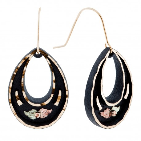 Black Hills Gold Black Powder Coated Earrings