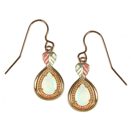 10K Black Hills Gold Opal Earrings