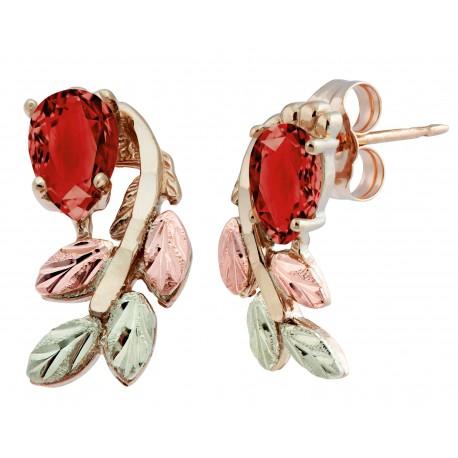 10K Black Hills Gold Garnet Earrings with 12K Leaves
