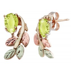 10K Black Hills Gold Peridot Earrings with 12k Leaves