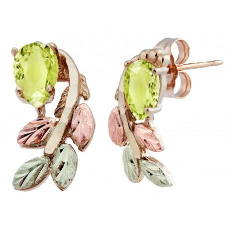 10K Black Hills Gold Peridot Earrings with 12k Leaves
