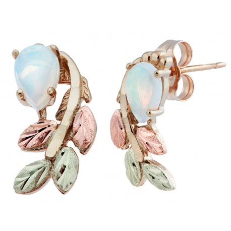 Coleman Stunning 10k Black Hills Gold Post Earrings with Genuine Opal